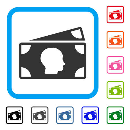 Banknotes icon. Flat grey iconic symbol inside a light blue rounded rectangle. Black, gray, green, blue, red, orange color versions of Banknotes vector.