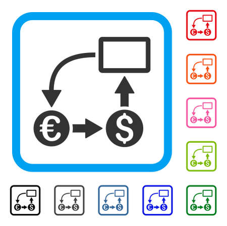 Cash flow Euro exchange icon. Flat gray iconic symbol in a light blue rounded frame. Illustration