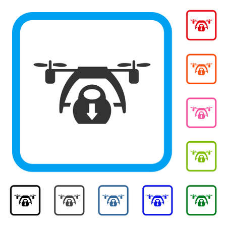 Drone Unloading icon. Flat grey iconic symbol inside a light blue rounded square. Black, gray, green, blue, red, orange color variants of Drone Unloading vector.