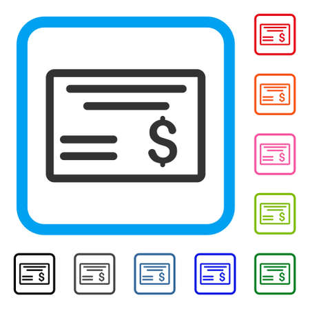 Dollar Cheque icon. Flat gray iconic symbol inside a light blue rounded rectangular frame. Black, gray, green, blue, red, orange color additional versions of Dollar Cheque vector.