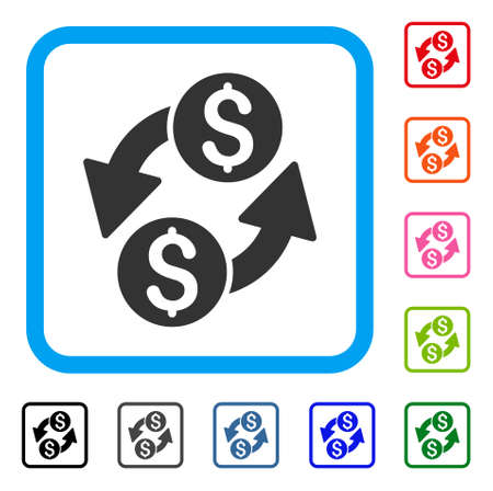 Dollar Exchange icon symbol in a light blue rounded squared frame, design illustration.
