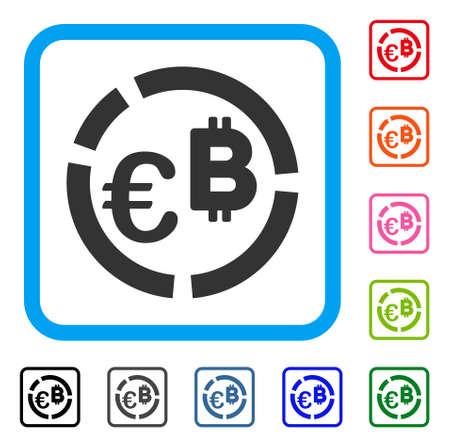 Euro bitcoin diagram icon.