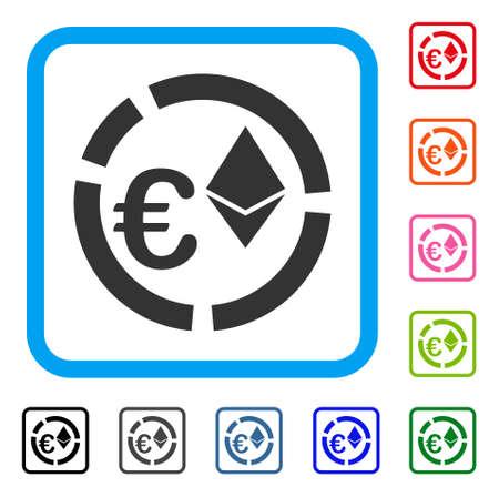 水色のユーロ Ethereum ダイアグラム アイコンのシンボルは、正方形のフレーム、設計図を丸められます。