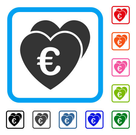 Euro Favorites Hearts icon symbol in a light blue rounded square frame, design illustration.