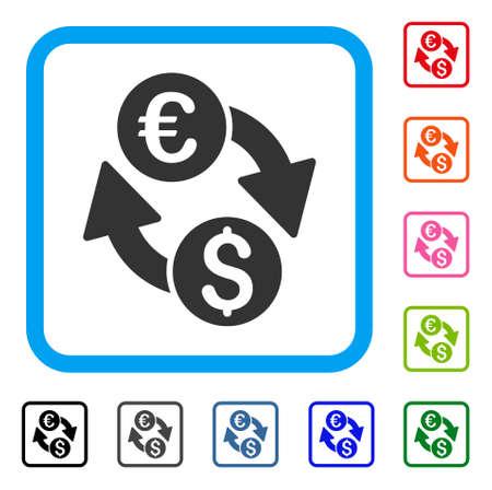 Euro Money Exchange icon symbol in a light blue rounded square frame, design illustration. Illustration