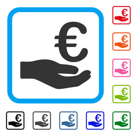 Euro Donation icon. Flat grey pictogram symbol in a light blue rounded rectangular frame. Black, gray, green, blue, red, orange color versions of Euro Donation vector.