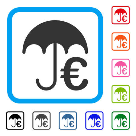 Euro Umbrella icon. Flat gray pictogram symbol inside a light blue rounded rectangle. Black, gray, green, blue, red, orange color variants of Euro Umbrella vector. Designed for web and app interfaces.