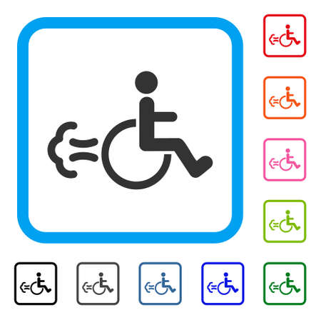Patient movement icon. Flat gray pictogram symbol inside a light blue rounded rectangular frame. Illustration