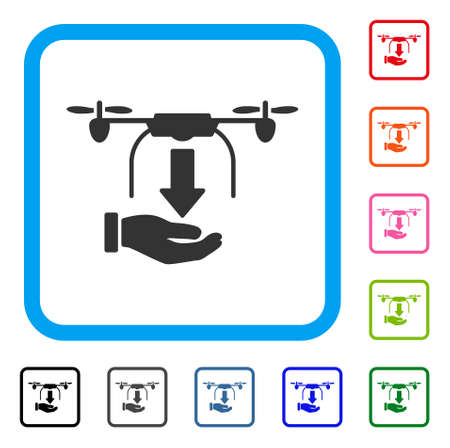 Unload Drone Hand icon. Flat gray iconic symbol inside a light blue rounded frame. Black, gray, green, blue, red, orange color versions of Unload Drone Hand vector. Stock Vector - 89509322