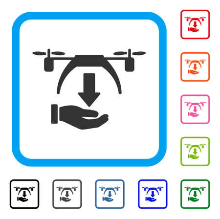 Unload Drone icon. Flat gray iconic symbol inside a light blue rounded square. Black, gray, green, blue, red, orange color variants of Unload Drone vector. Illustration