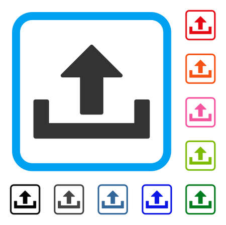 Upload icon. Flat grey iconic symbol in a light blue rounded rectangular frame. Black, gray, green, blue, red, orange color additional versions of Upload vector.