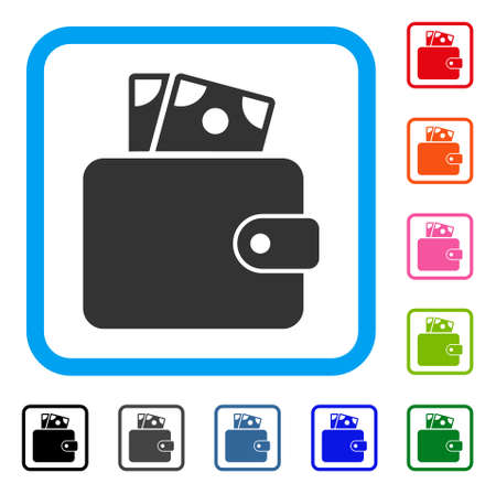 Wallet icon. Flat gray pictogram symbol inside a light blue rounded rectangle. Black, gray, green, blue, red, orange color versions of Wallet vector. Designed for web and software UI.