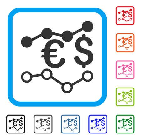 通貨チャート アイコン。光青角丸四角形内フラット グレー ピクトグラム シンボル。ブラック、通貨チャートの灰色、緑、青、赤、オレンジのカラ