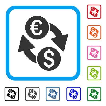 Euro dollar change icon. Flat grey pictogram symbol inside a light blue rounded squared frame. Ilustrace