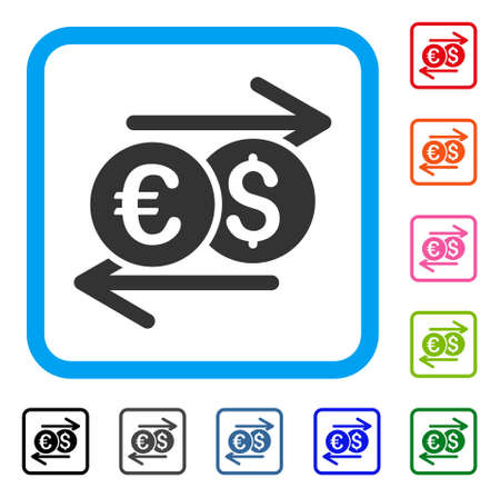 Currency Exchange icon. Flat gray pictogram symbol inside a light blue rounded rectangular frame. Black, gray, green, blue, red, orange color additional versions of Currency Exchange vector.