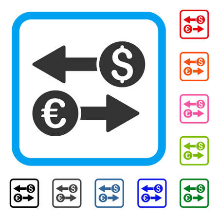 Currency transfers icon. Flat grey pictogram symbol inside a light blue rounded square. Illustration