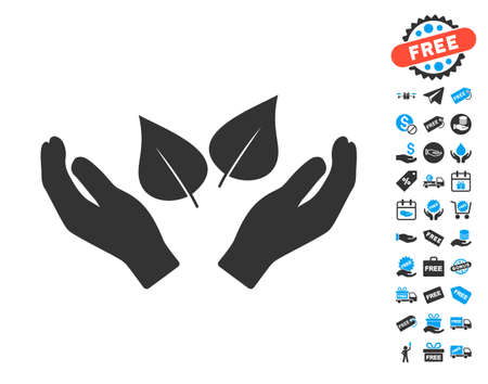 supervisión: Flora Care Hands icon with free bonus images. Vector illustration style is flat iconic symbols.