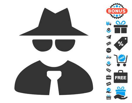 Pictogramme Mafia Boss avec pictogrammes bonus gratuits. Style d'illustration vectorielle est le plat emblématiques. Vecteurs