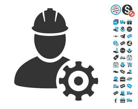 Icono de servicio hombre con elementos relacionados con la ilustración de diseño creativo . Foto de archivo - 88283939