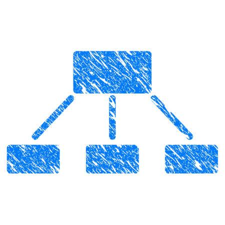 Icono de jerarquía de Grunge con diseño rayado y textura rayada. Pictograma de Jerarquía azul raster borroso para sellos de caucho con imitaciones y marcas de agua. Proyecto de símbolo de la pegatina. Foto de archivo - 88492973