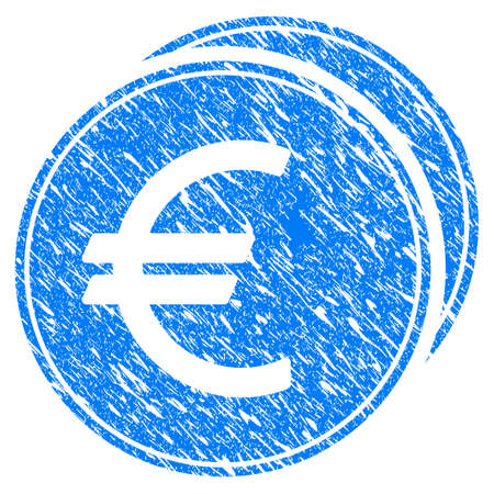 Grunge Euro Coins icon with scratched design and dirty texture. Unclean vector blue Euro Coins pictogram for rubber seal stamp imitations and watermarks. Draft sticker symbol.