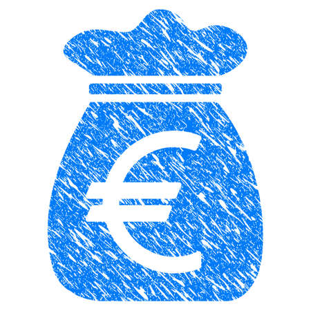 Grunge Euro Money Bag icon with scratched design and unclean texture. Unclean vector blue Euro Money Bag pictogram for rubber seal stamp imitations and watermarks. Draft emblem symbol. Illustration