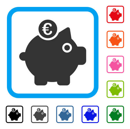 Euro Piggy Bank icon. Flat grey iconic symbol in a light blue rounded square. Black, gray, green, blue, red, orange color versions of Euro Piggy Bank vector. Designed for web and application UI. Ilustrace