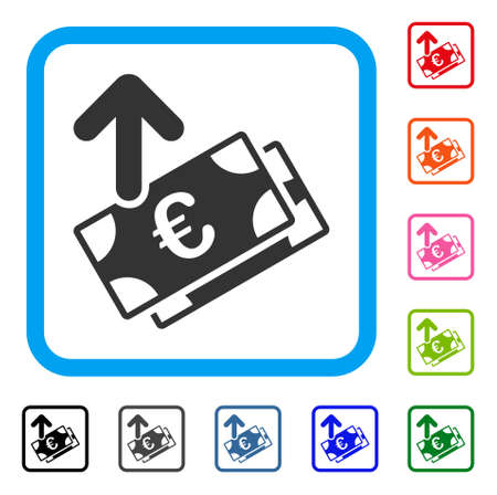 Spend Euro Banknotes icon. Flat grey iconic symbol in a light blue rounded square. Black, gray, green, blue, red, orange color additional versions of Spend Euro Banknotes vector.