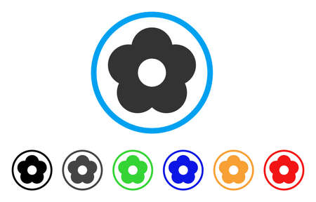 Flower rounded icon. Style is a flat gray symbol inside light blue circle with additional colored variants. Flower vector designed for web and software interfaces.