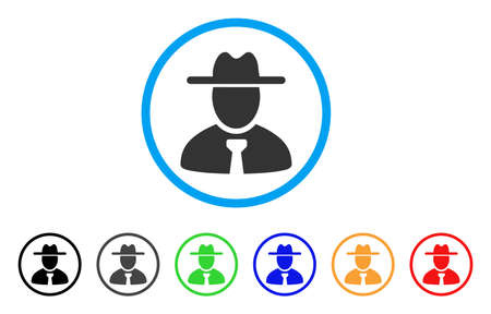 Gentleman rounded icon. Style is a flat grey symbol inside light blue circle with bonus color versions. Gentleman vector designed for web and software interfaces. Illustration