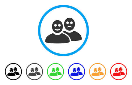 Glad And Sad People rounded icon. Style is a flat grey symbol inside light blue circle with bonus colored versions. Glad And Sad People vector designed for web and software interfaces.