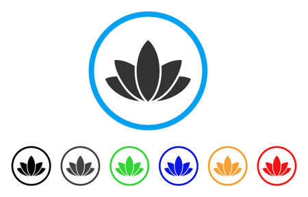 Lotus Flower rounded icon. Style is a flat gray symbol inside light blue circle with additional colored versions. Lotus Flower vector designed for web and software interfaces.