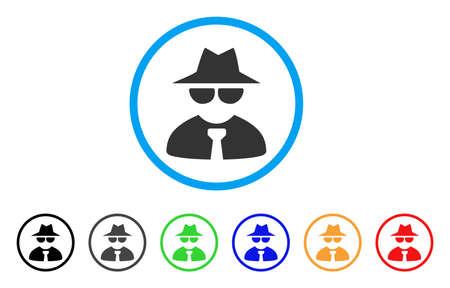 Mafia Boss arrondi icône. Le style est un symbole gris plat à l'intérieur du cercle bleu clair avec des variantes de couleurs supplémentaires. Mafia Boss vector conçu pour les interfaces web et logiciels.