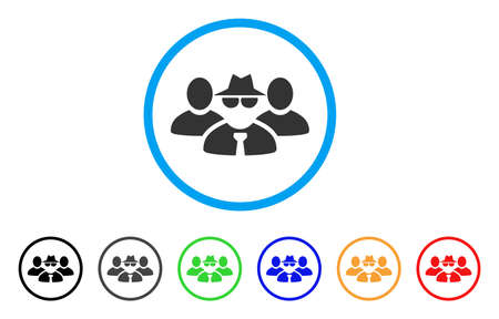 Mafia People Group rounded icon. Style is a flat grey symbol inside light blue circle with additional colored versions. Mafia People Group vector designed for web and software interfaces. Illustration