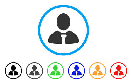 Manager rounded icon. Style is a flat gray symbol inside light blue circle with bonus color versions. Manager vector designed for web and software interfaces.