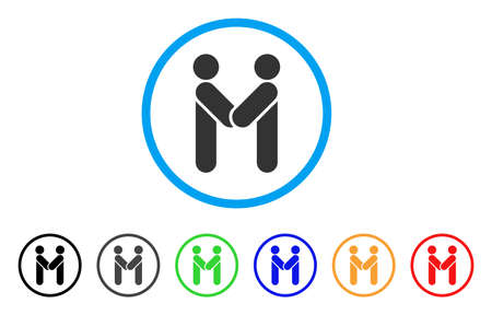 Persons handshake rounded icon. Style is a flat grey symbol inside light blue circle with additional colored variants.