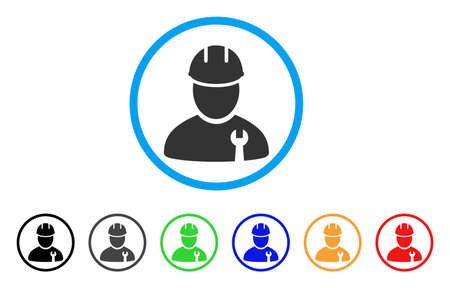 Repairman rounded icon. Style is a flat gray symbol inside light blue circle with bonus colored variants.