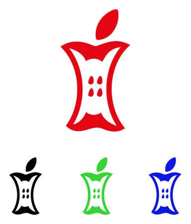 Cono de Apple Stump. El estilo de la ilustración del vector es un símbolo plano del tocón de manzana icónico con versiones de color negro, rojo, verde, azul. Diseñado para interfaces web y de software. Foto de archivo - 88312007