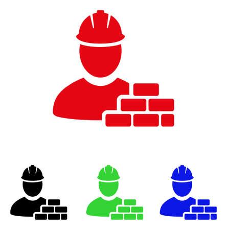 Baksteen bouwer pictogram. Vector illustratie stijl is een platte iconische baksteen bouwer symbool met zwarte, rode, groene en blauwe kleurvarianten.