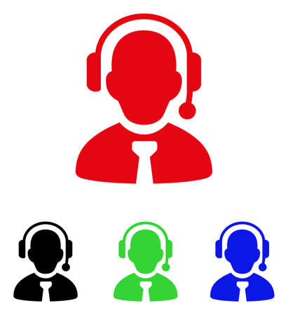 Call center boss icon. Vector illustration style is a flat iconic call center boss symbol with black, red, green and blue color versions.