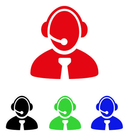 Call center manager icon. Vector illustration style is a flat iconic call center manager symbol with black, red, green and blue color variants. Illustration