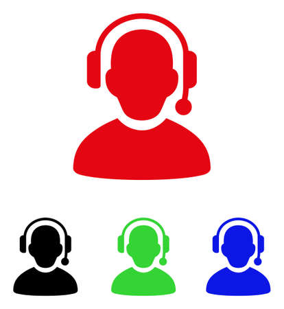 Call center icon. Vector illustration style is a flat iconic call center symbol with black, red, green and blue color versions.