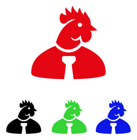 Chicken man icon. Vector illustration style is a flat iconic chicken man symbol with black, red, green and blue color versions. Illustration
