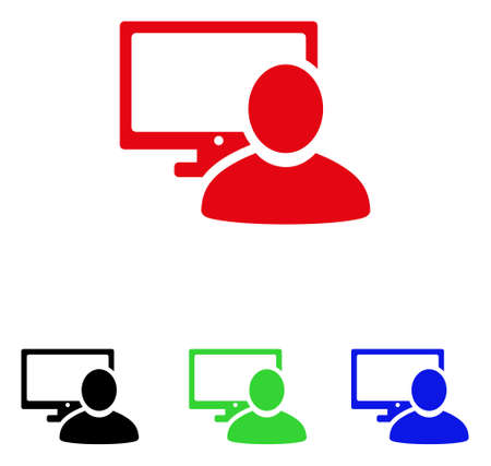 Computer User icon. Vector illustration style is a flat iconic computer user symbol with black, red, green, blue color versions. Designed for web and software interfaces.