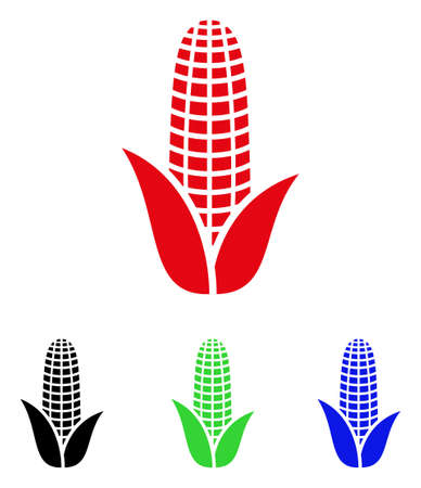 Corn icon. Vector illustration style is a flat iconic corn symbol with black, red, green, blue color variants. Designed for web and software interfaces.