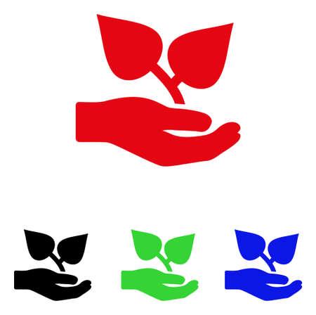 Flora Care icône de la main. Style d'illustration vectorielle est un symbole de main plat flore soins iconique avec des versions de couleur noir, rouge, vert, bleu. Conçu pour les interfaces web et logiciels.