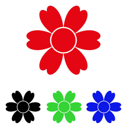 Flower icon. Vector illustration style is a flat iconic flower symbol with black, red, green, blue color variants. Designed for web and software interfaces.