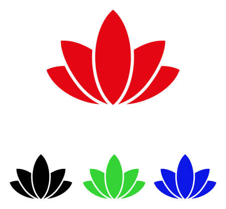 Lotus flower icon. Vector illustration style is a flat iconic lotus flower symbol with black, red, green and blue color versions. Illustration