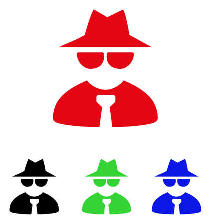 Mafia boss icon. Vector illustration style is a flat iconic mafia boss symbol with black, red, green and blue color variants.