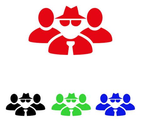 groupe de personnes mafia icône . style de vector est un symbole de couleur plat emblématiques de l & # 39 ; illustration avec des couleurs plates et des symboles de couleur bleu . les boutons emblématiques blancs Vecteurs